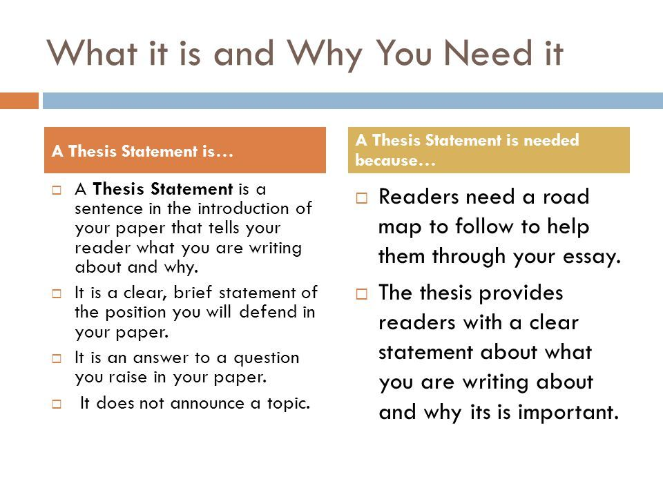 What a thesis statement is and Why You Need it